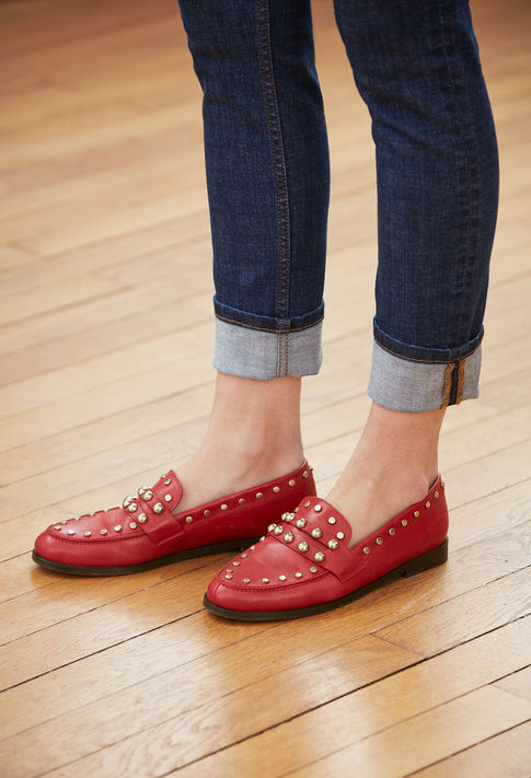 mocassins rouge clous claudie pierlot