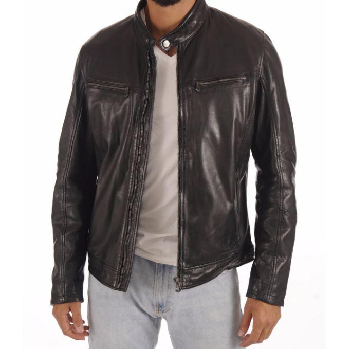 Blouson en cuir noir coupe classique pour homme