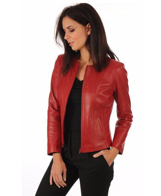 Veste en cuir femme rouge coupe sexy