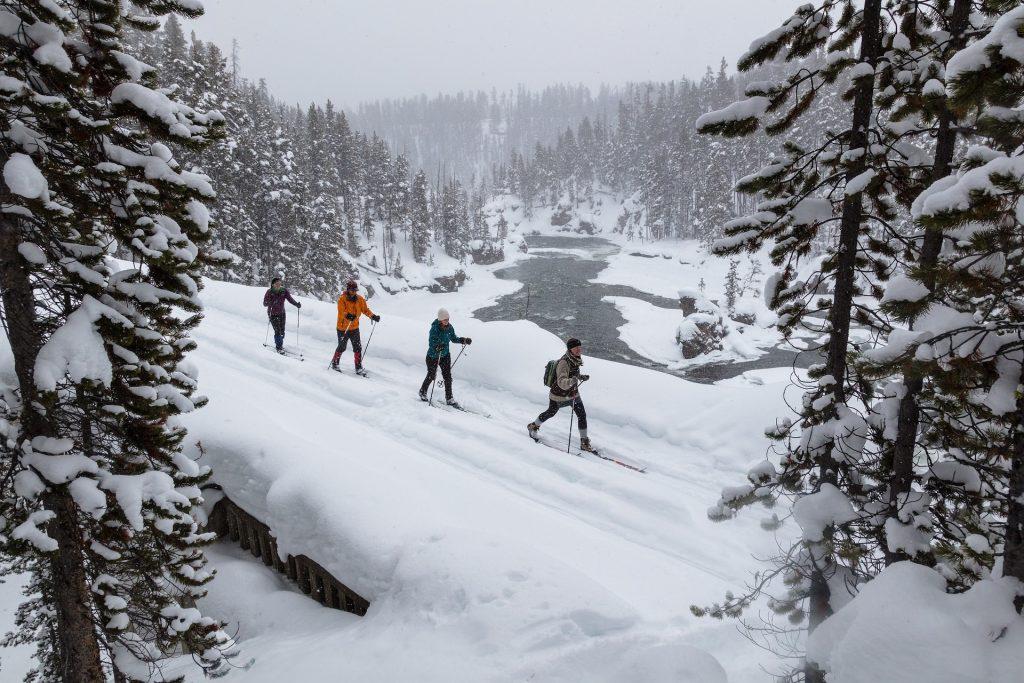 Quatre personnes au milieu de la neige en pleine montagne qui font une randonnée à ski